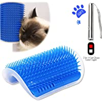 Cat Corner Groomer with Catnip, Dog Cat Self Groomer,Wall Corner Massage Comb, Grooming Brush, Massager Shedding Tool for Long & Short Fur Cats/Dogs/Horses, 1 x Cat Toy 2 in 1 Flash Light Included