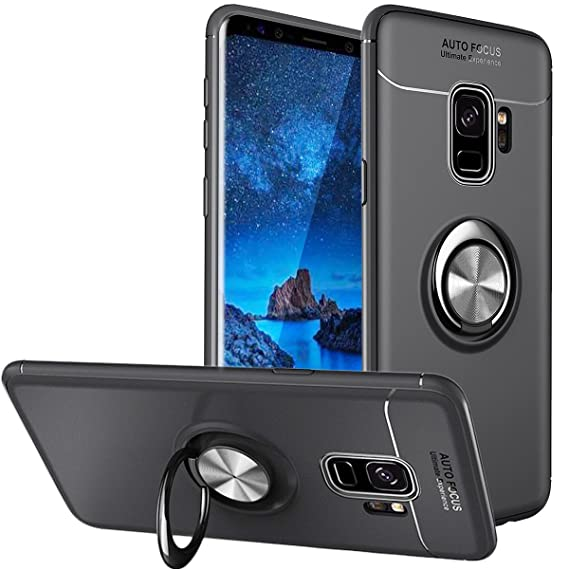 huge selection of 3da3f 75749 Galaxy S9 Plus Case,WATACHE Metal Ring Grip Holder Kickstand Slim Soft TPU  Protective Case with Support Magnetic Car Mount Function for Samsung Galaxy  ...