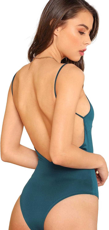 DIDK Womens Spaghetti Strap Armhole Plain Backless Bodysuit
