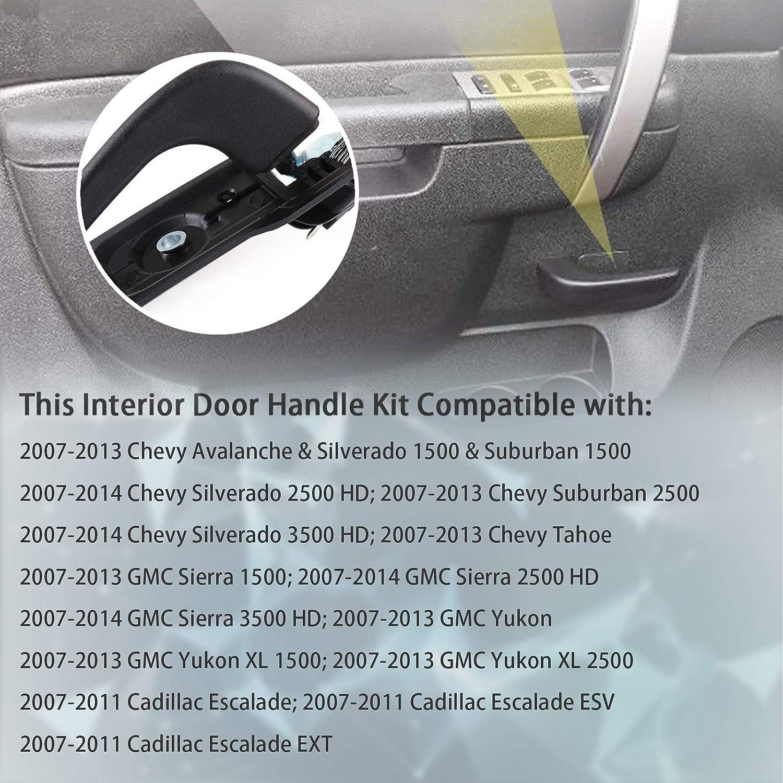Vikter 20833606 Interior Door Handle Kit Front Drivers Side Compatible with Chevy Avalanche Silverado /& Suburban1500 2500 3500 Tahoe GMC Sierra Yukon Cadillac Escalade 2007-2014#80374