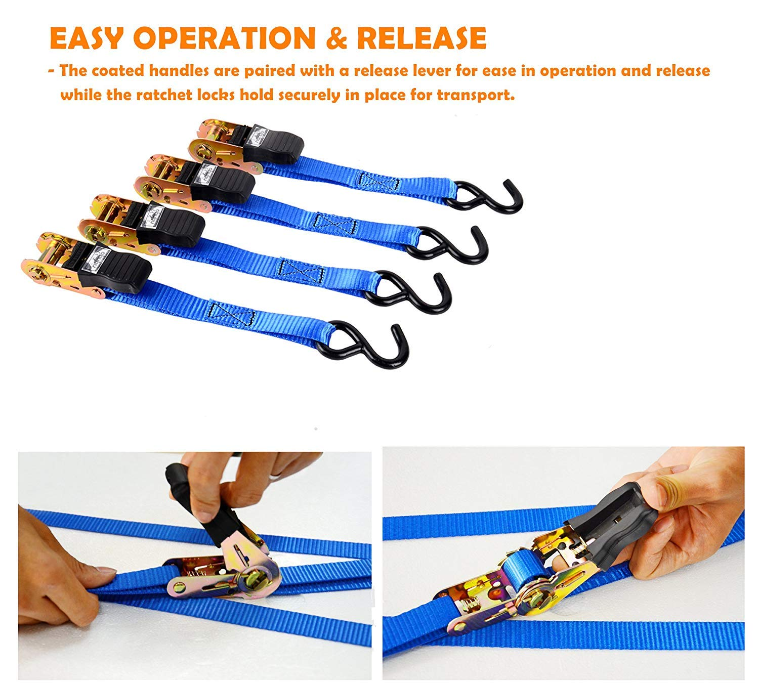 Cargo Straps for Lawn Equipment Ohuhu Ratchet Strap Blue 4332990983 Moving Appliances 15 Ft Ratchet Tie Downs Logistic Straps Motorcycle 500 Lbs Load Cap with 1500lb Breaking Limit 4 Pack