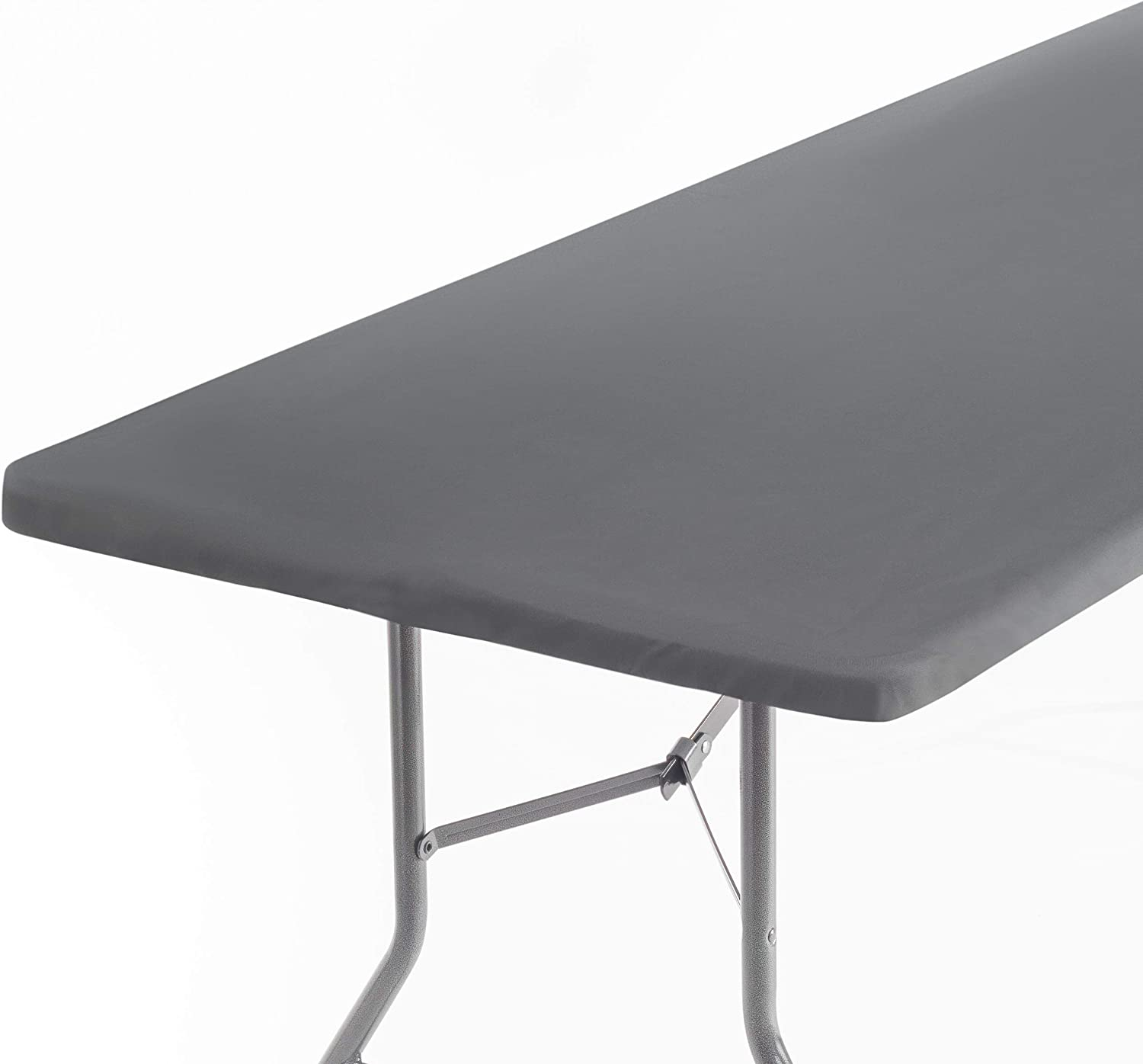 Signature Home Fitted Tablecloth Rectangle Grey Table Cover - 72 x 32 in Table Cloth - Fitted Table Covers for 6 Foot Tables. Washable Picnic Table Cover Indoor Outdoor Tablecloth Elastic Tablecloth