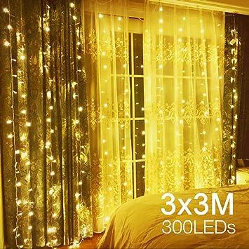 D'éclarage Décoration 8 Guirlande Noël X Étanche Pour Lumineuse 3m Modes Fête Led Lumineux Anniversaire Exterieur Interieur Ip44 Quntis Rideau 8Nm0wOvn