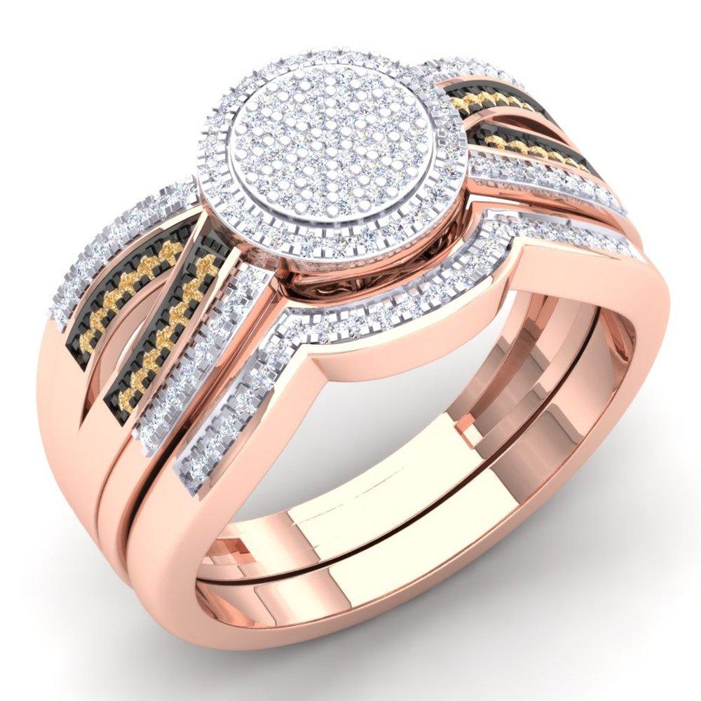 0.40 Carat (Ctw) 10K Rose Gold Champagne & White Diamond Ladies Swirl Engagement Ring Set (Size 7)
