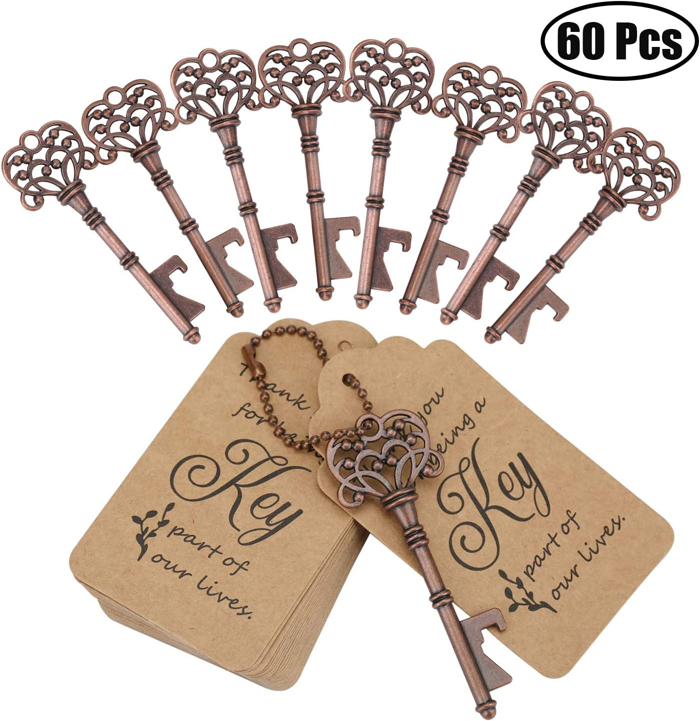 WODEGIFT 60 PCS Key Bottle Openers,Vintage Skeleton Key Bottle Opener with Escort Card Tag and Key Chains,Wedding Party Favor Souvenir Gift(Red Copper)