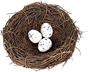 Hummingbird Nest with 3Pcs Artificial Bird Eggs, Rattan Mini Bird Nest and Handmade Simulation Eggs Craft Country Style Creative Decoration for Home Garden Yard Easter Christmas Party, 4.72 Inches
