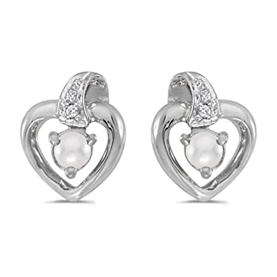 6d6abaf7f 0.01 Carat (ctw) 14k White Gold Round Freshwater-Cultured Pearl and Diamond  Heart