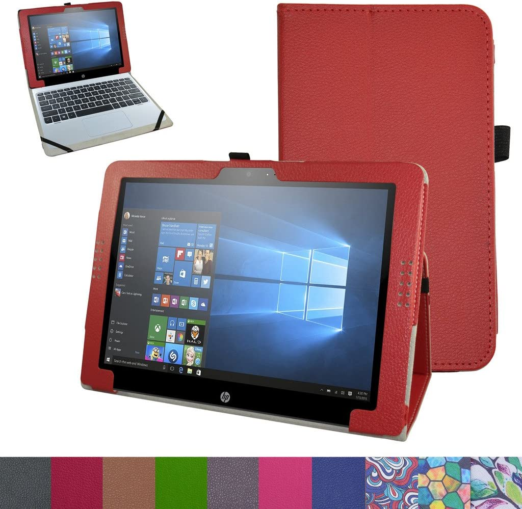 """HP Pavilion X2 12 Case,Mama Mouth PU Leather Folio 2-Folding Stand Cover for 12"""" HP Pavilion x2 12 12-b020nr 12-b010nr Windows 10 Tablet 2016,Red"""