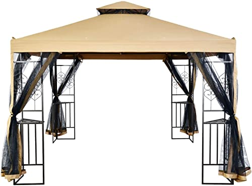 Suna Outdoor 10×10 Ft Outdoor Gazebo Steel Frame Two-Tiered Top Canopy