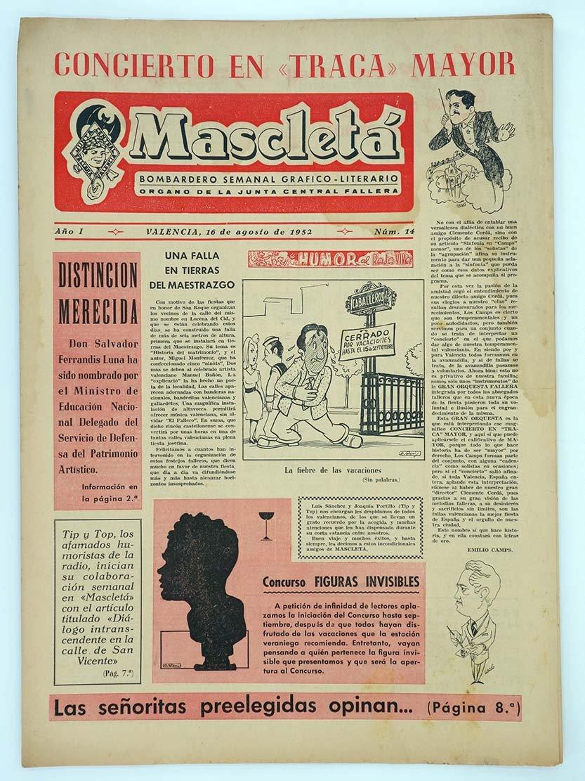 MASCLETA BOMBARDERO SEMANAL GRÁFICO LITERARIO 14. 16 Ago 1952 ...
