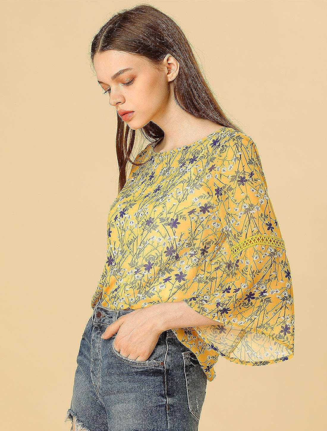 Allegra K Womens 3//4 Bell Sleeve Floral Print Chiffon Blouse W Cami