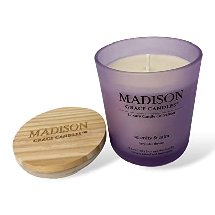 Madison Grace Candle, 5 6 oz Scented Soy Candle with Lavender Essential  Oil, Beautiful Frosty Jar Candle with Engraved Logo Wooden Lid,  Aromatherapy