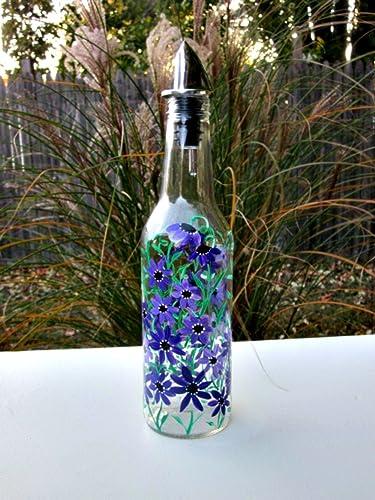 dish soap dispenser oil and vinegar bottle hand painted glass bottle kitchen decoration - How To Paint Glass Bottle