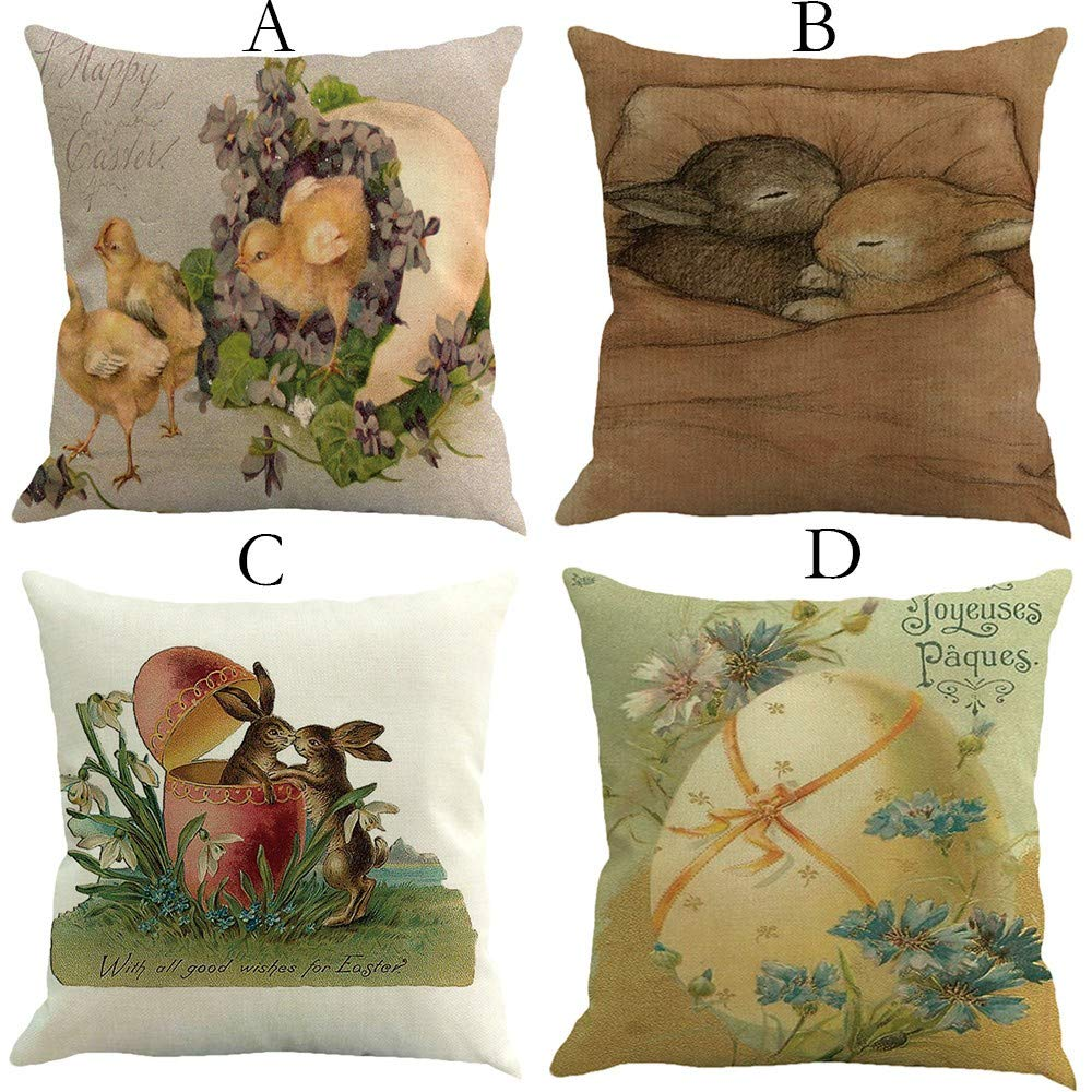 ❤Ywoow❤ Easter Pillow Cases Linen Sofa Cushion Cover Sofa Bed Home Decor Pillow Case A by ❤Ywoow❤ (Image #2)