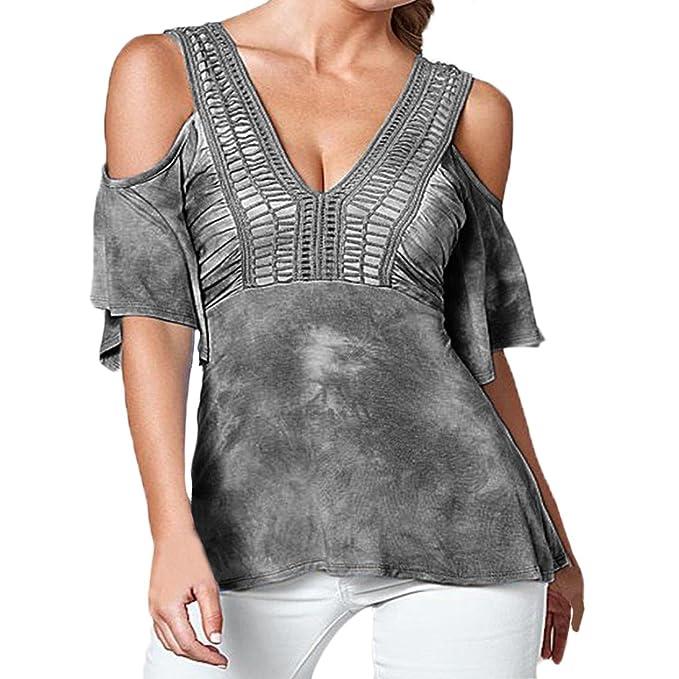 Tops Mujer Elegante Verano Sin Tirantes V Cuello Manga Corta Blusas Diario Niñas Ropa Casual Moda Hollow Camisetas: Amazon.es: Ropa y accesorios