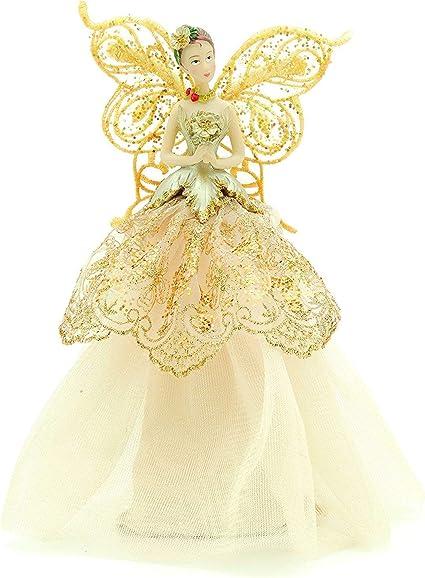Gisela Graham Silver Glitter Christmas Fairy Tree Topper-Noël Ange