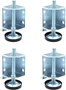 FarBoat 4Pcs Furniture Leg Levelers 5/16inch Adjustable Anti-Slip Heavy Duty Zinc-Plated for Tables, Shelves, Shop Cabinets, Furnitures (2.8inch Length)