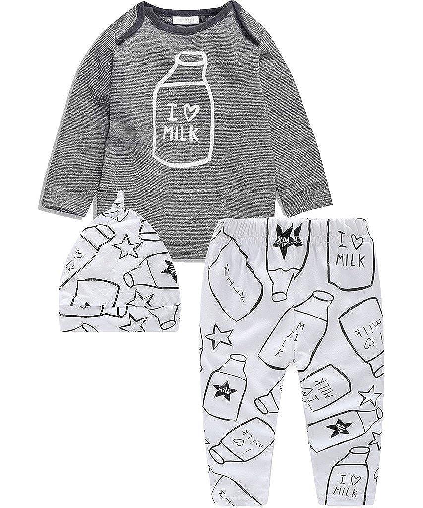 Baby's 3pcs Newborn Baby Boys Grey T-shirt Tops+ Print Pants +hat Outfits Set Pretty Tiger