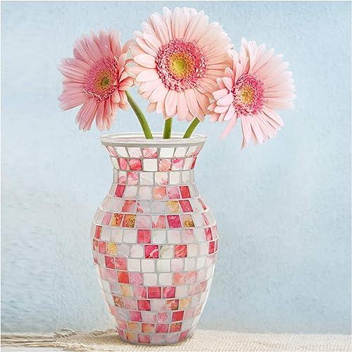 SHMILMH Mosaic Flower Vase Handmade Glass Piece Glass Vase