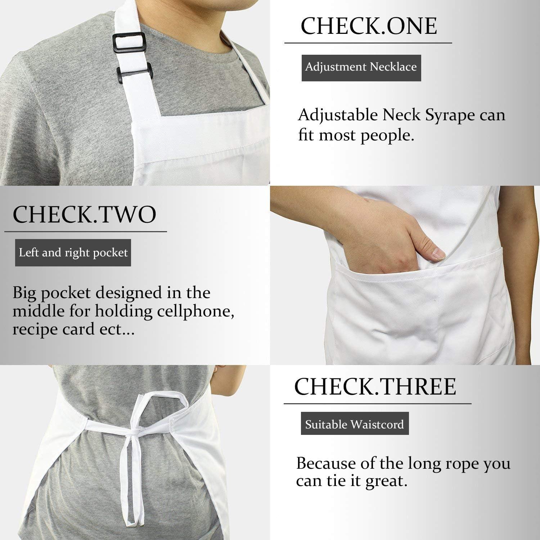 White Chef Hat and Kitchen Apron Adult White Apron with Butcher Hat for Men /& Women Black Homsolver Adjustable Bib Chef Apron Set