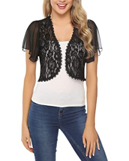 d195a3f33a0 Hawiton Women Shrug Short Sleeve Lace Bolero Jacket Open Front Cropped  Cardigan