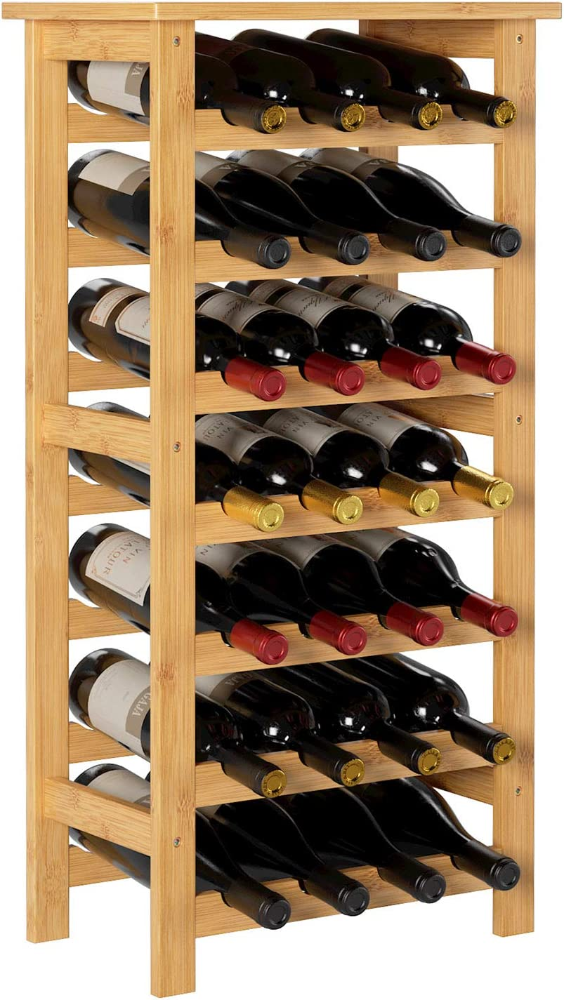 Homfa Bamboo Wine Rack, 7 Tier Free Standing Wine Storage Rack Display Shelves 28 Bottles Capacity Storage Standing Table, Wobble Free for Home Kitchen, Natural Color
