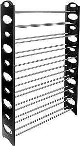 OxGord 50-Pair Shoe Rack Storage Organizer, 10-Tier Portable Wardrobe Closet Bench Tower Stackable, Adjustable Shelf - Strong Sturdy Space Saver Wont Weaken or Collapse - Black
