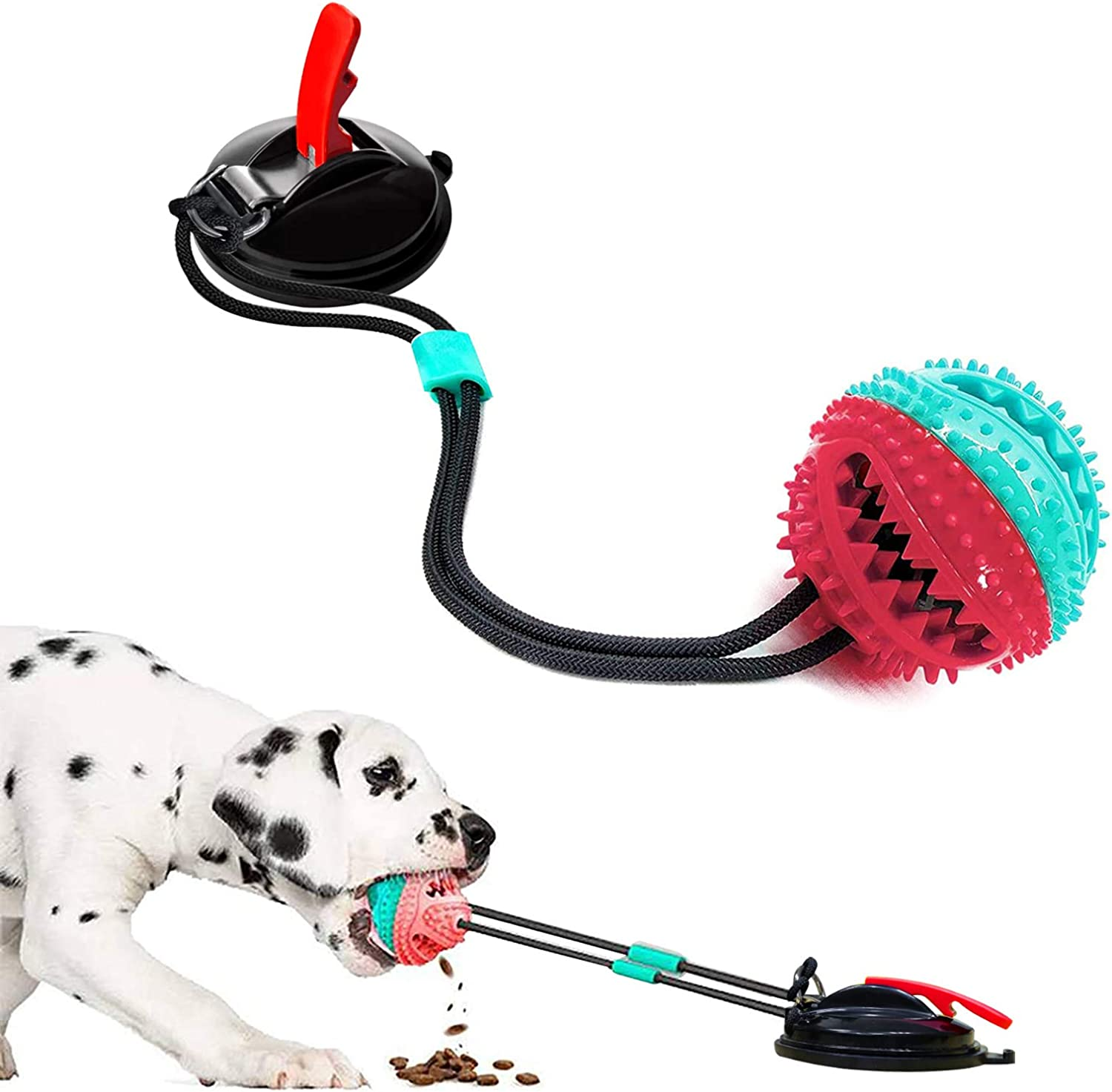 Upgrade Suction Cup Dog Chewing Toy, Dog Chew Toys for Aggressive Chewers, Dog Rope Ball Toys with Suction Cup for Puppies Large Dogs, Teeth Cleaning Interactive Pet Tug Toy for Boredom