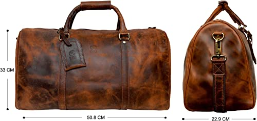 Handmade Leather Duffel Bags For Men – Airplane Underseat Carry On Luggage By Rustic Town