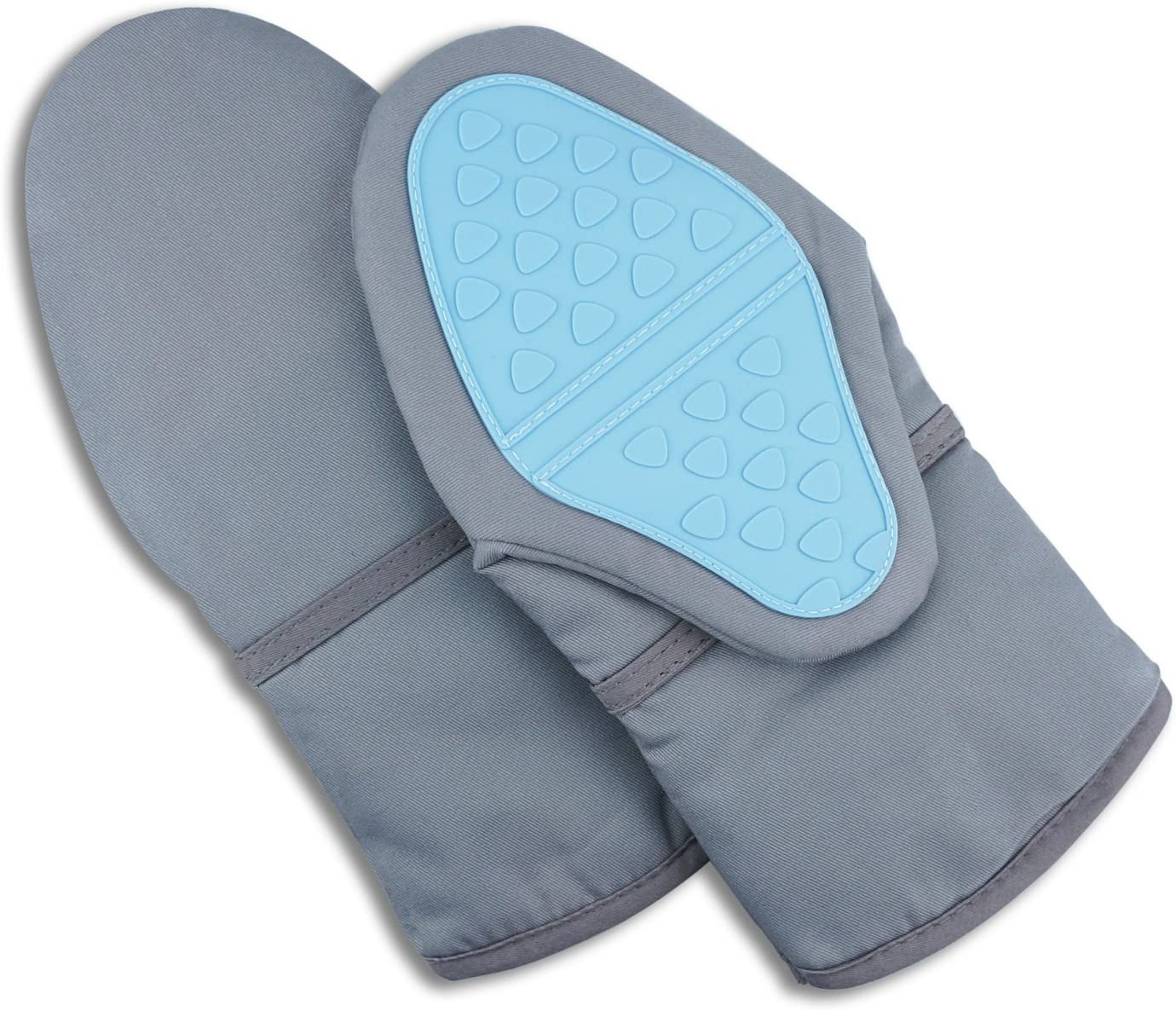 Emiica Cotton and Silicone Oven Mitts, Heat Resistant to 500° F, Long Oven Gloves with Non-Slip Silicone Grip for Kitchen Cooking, Baking and Grill, Set of 2 (Gray, Two Standard)