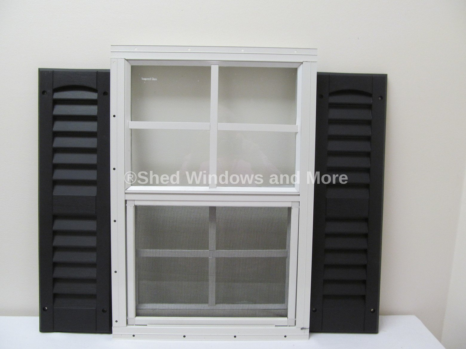 Shed Window with Shutters 14 X 21 White Flush Safety Glass Playhouse Window (Black)