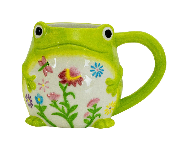 Boston Warehouse Earthenware Mug, Floral Frog Design
