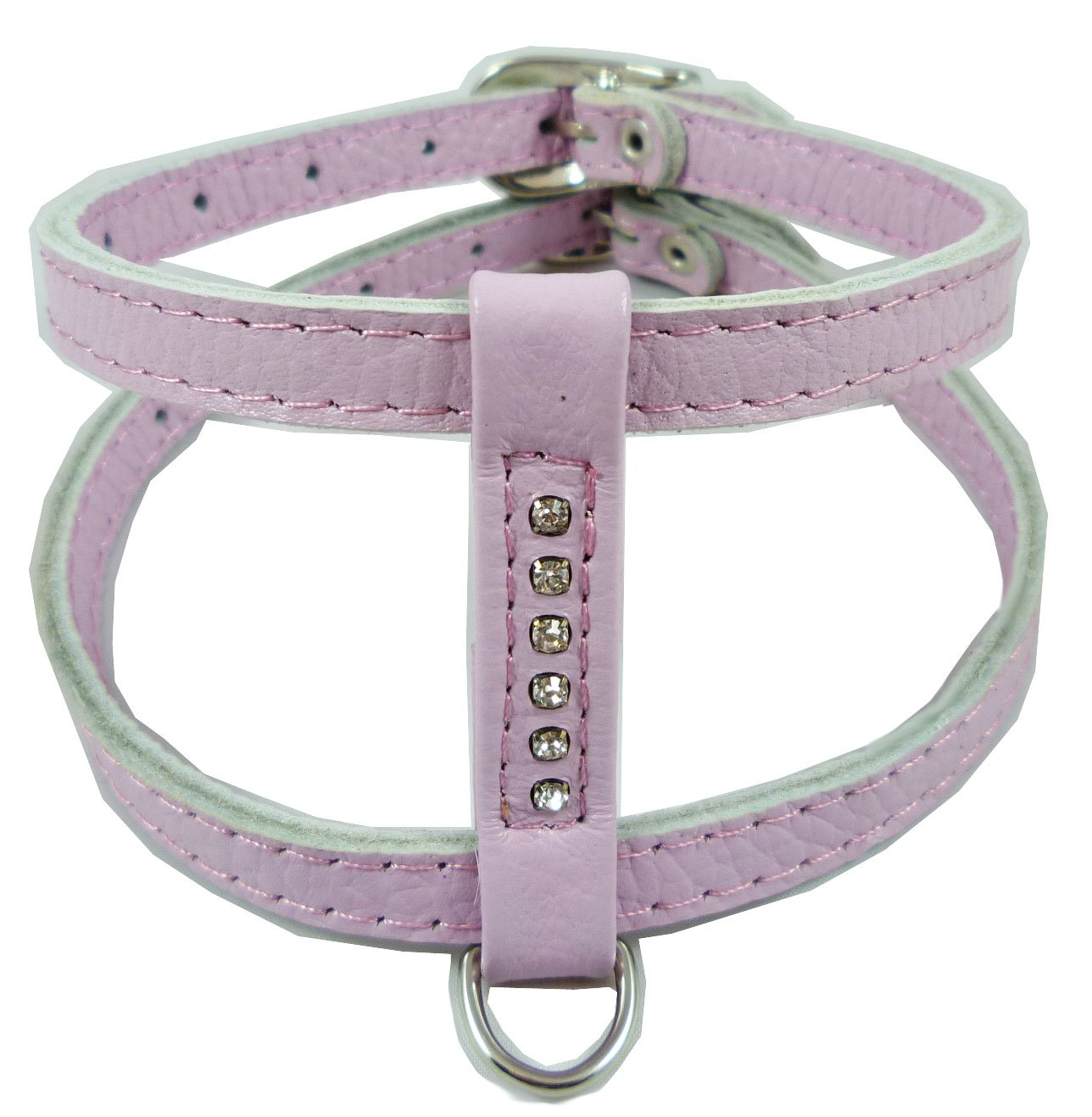 Genuine Leather Dog Harness for Toy Breeds X-small. 10 -13  Chest Circumference Rhinestones (purplec)