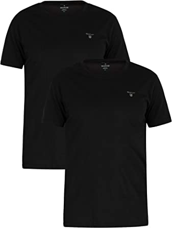 GANT de los Hombres Pack de 2 Camisetas con Logo, Negro, S: Amazon ...