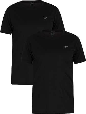 GANT de los Hombres Pack de 2 Camisetas con Logo, Negro: Amazon.es ...