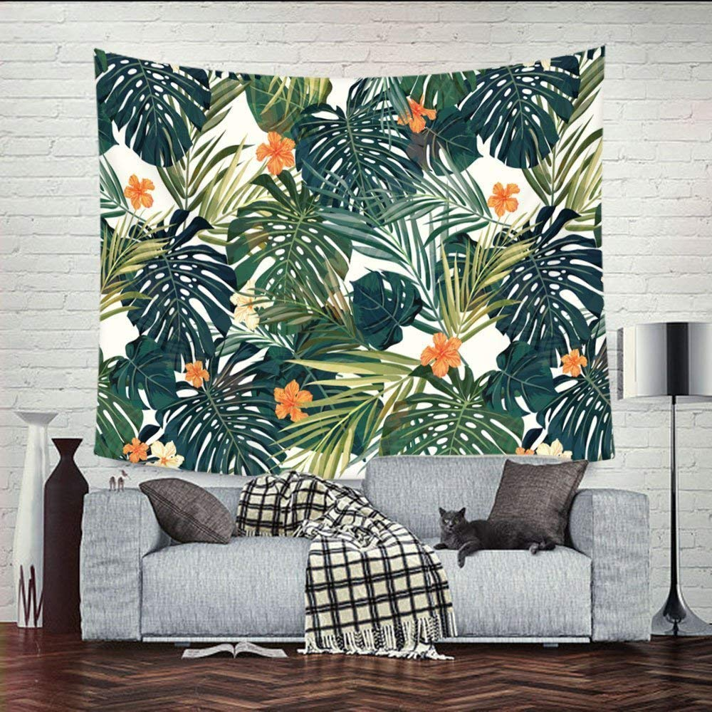QEES Tropical Palm Leaves Tapestry Green Leaf Orange Flower Decor Pattern Light-Weight Polyester Fabric Hanging Wall Decor Bedroom Living Room Dorm Wall Hanging ZhuoLang GT06-orange Flower 78 58