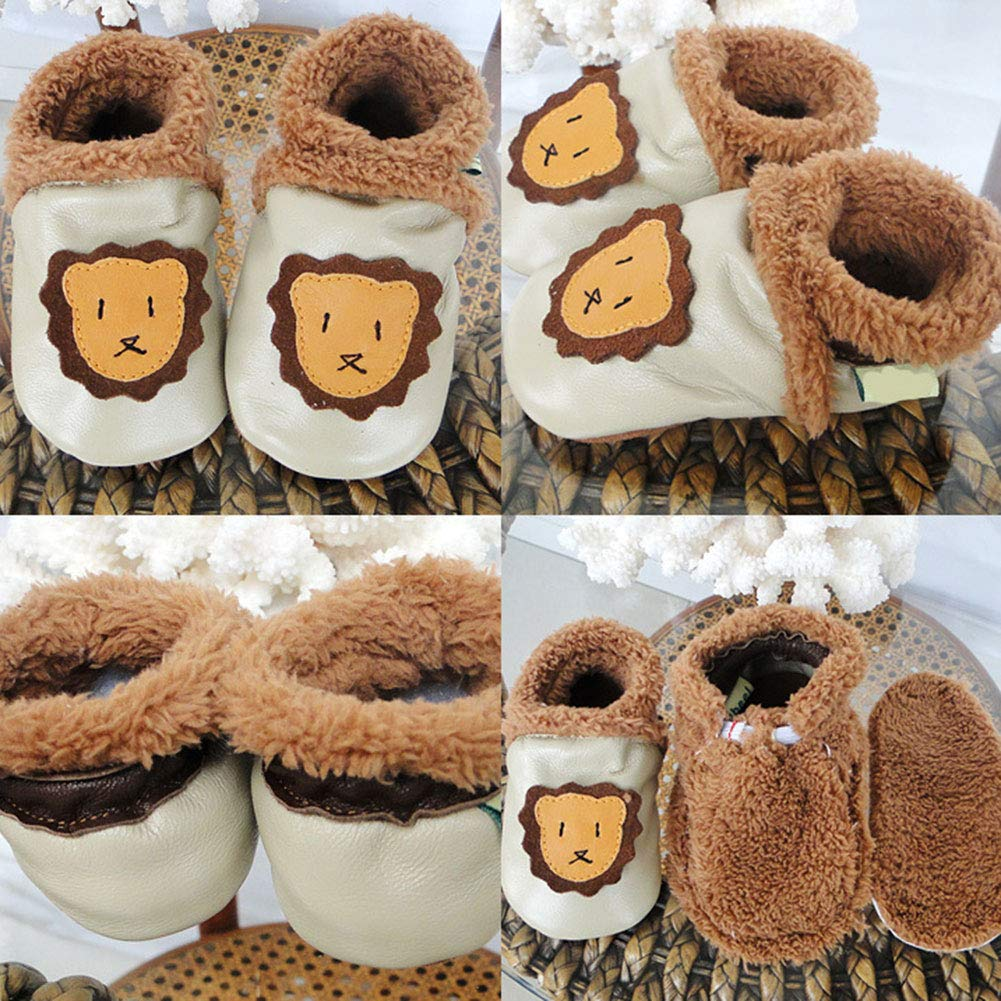 M/&A Baby Winter Plush Soft Sole Leather Shoes Warm First Walker Prewalker Crib Shoes