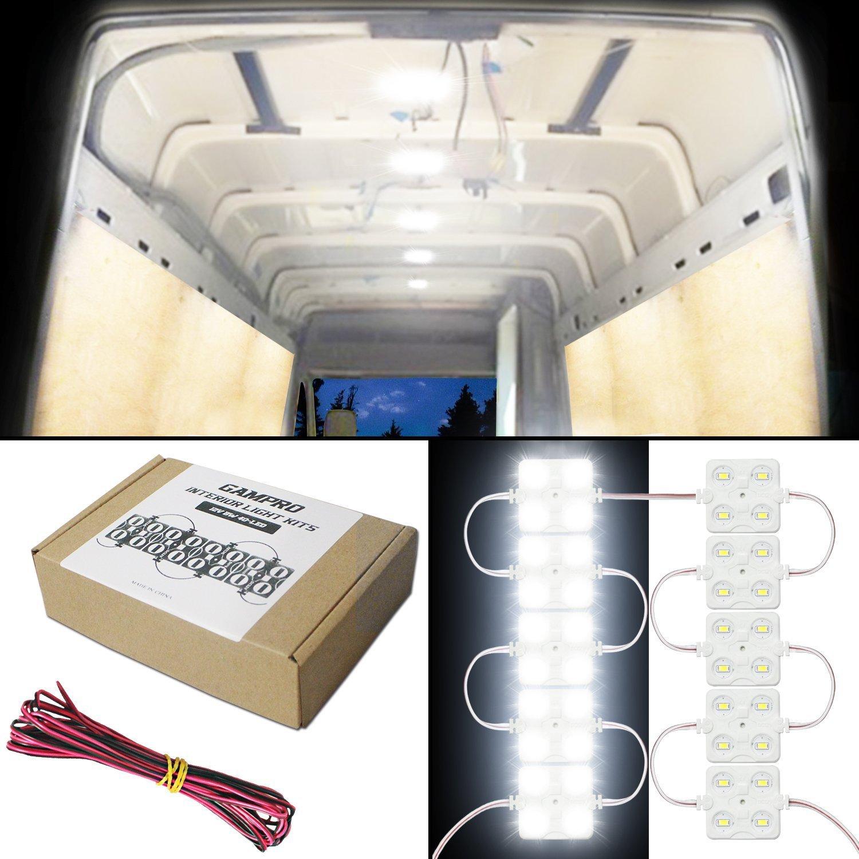 GAMPRO 12V 12W 40-LED Van Interior Light Kits, Waterproof White LED Ceiling Light Kits for Van, Mini Van, Trailer, Truck, RV, Caravan, Pickup, Boat, Ducato, Sprinter and Any 12V Vehicles(12W)