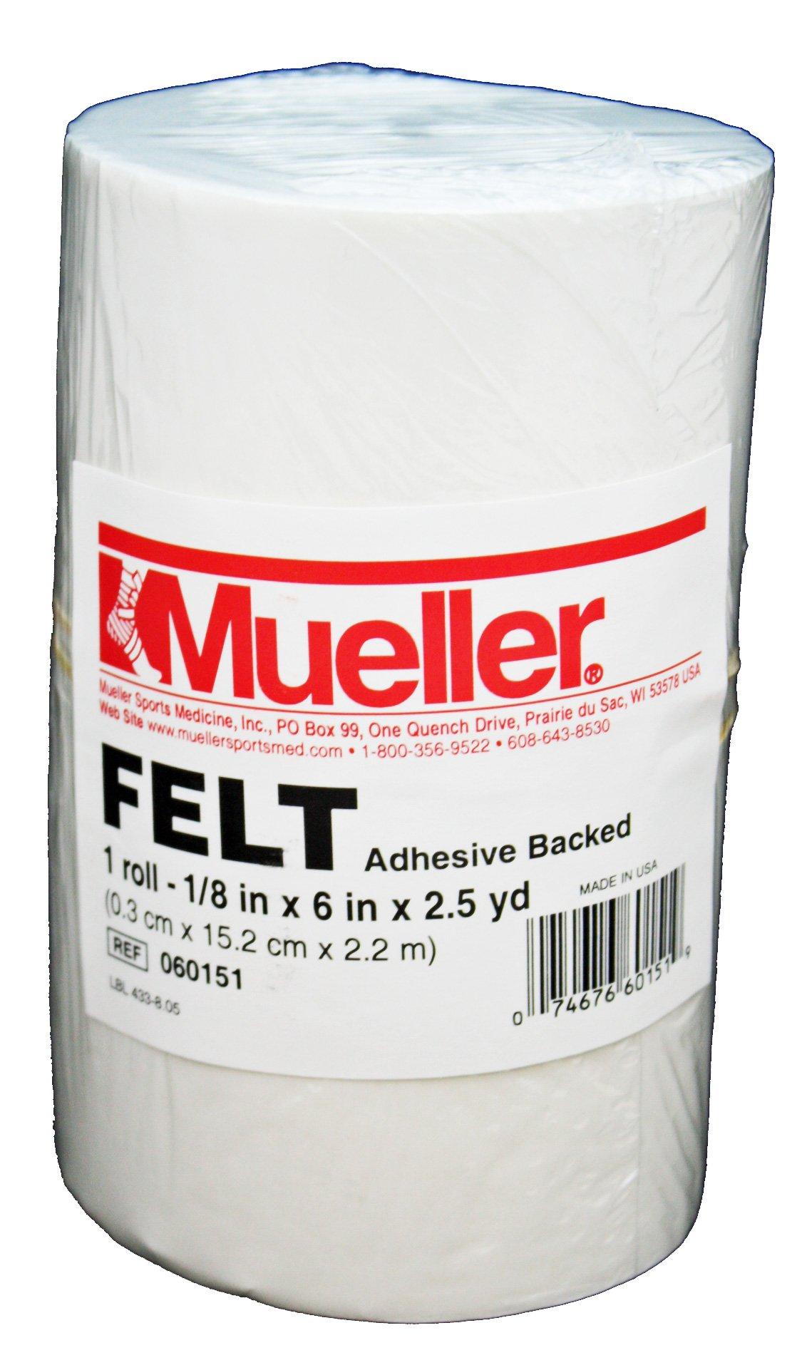 Mueller Orthopedic Felt - Adhesive backed - 1/8'' x 6'' x 2.5 yd roll