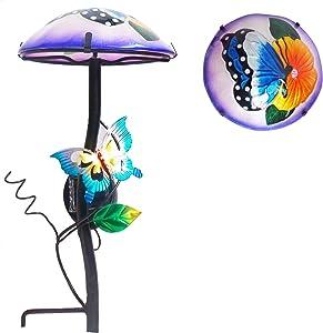 "Comfy Hour 14"" Height Mushroom Shape Butterfly Flower Glass Top Solar Light Garden Stake"