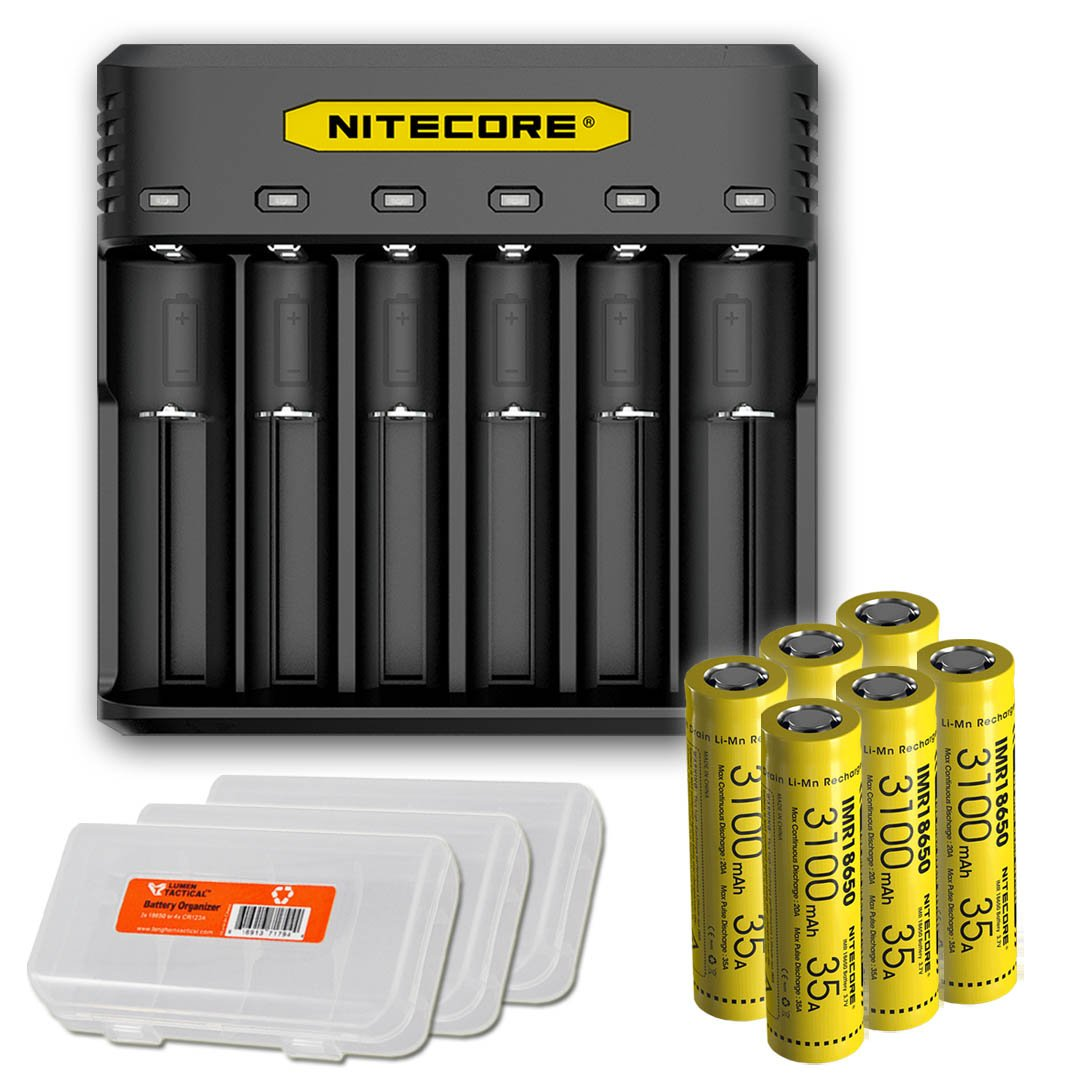 NITECORE Q6 Six Slot 2A Universal Li-ion/IMR Battery Charger for 18650,16340, RCR123A, 14500, 18350 with 6X IMR 3100mAH Rechargeable Batteries and LumenTac Organizer