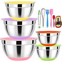 5 Pcs Mixing Bowls with Lids,Stainless Steel Mixing Bowls,Colorful Non-Slip Bottoms,Including Kitchen Utensils,Mixing…