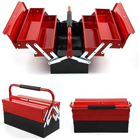 Caja de herramientas de metal, 43 cm x 22 cm x 21 cm, caja de almacenamiento de herramientas de 3 niveles 5 bandejas, organizador de caja de herramientas en voladizo (rojo): Amazon.es: Bricolaje y herramientas