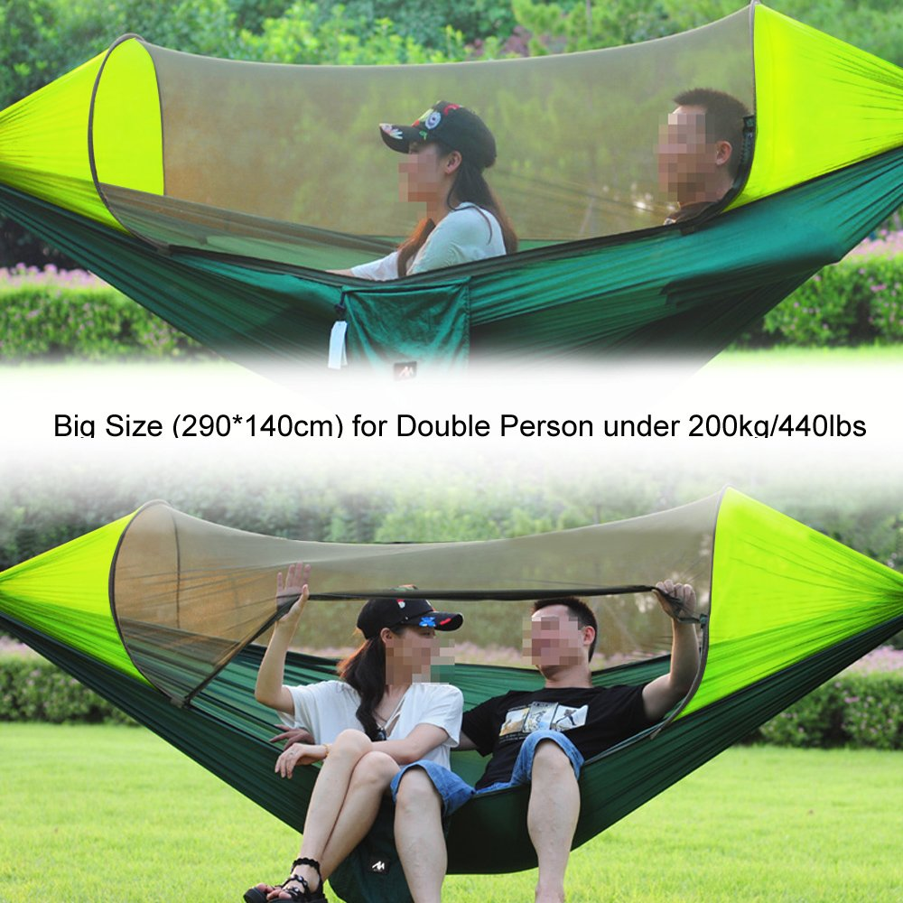 2 in 1 Camping Hammock with Mosquito Net /& Sunshade Cloth /& Tree Straps for 2//Double Person, Portable Parachute Nylon Lightweight Big Pop Up Swing Hammock with Bug//Insect Netting AYAMAYA