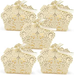 50pcs Wedding Party Favor Boxes,Lace Candy Boxes Laser Cut Boxes Cajitas para Dulces for Wedding Bridal Shower Baby Shower Birthday Party(Gold)
