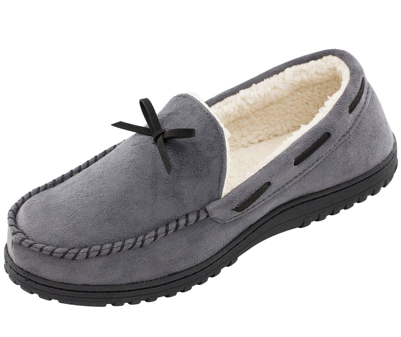 eabbc422bf RockDove Men's Wool Lined Micro Suede Memory Foam Moccasin Slipper ...
