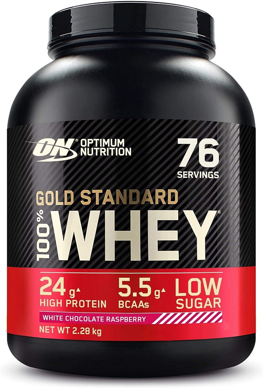 Optimum Nutrition Gold Standard 100% Whey Proteína en Polvo, Glutamina y Aminoácidos Naturales, BCAA, Chocolate Blanco y Frambuesa, 76 Porciones, ...