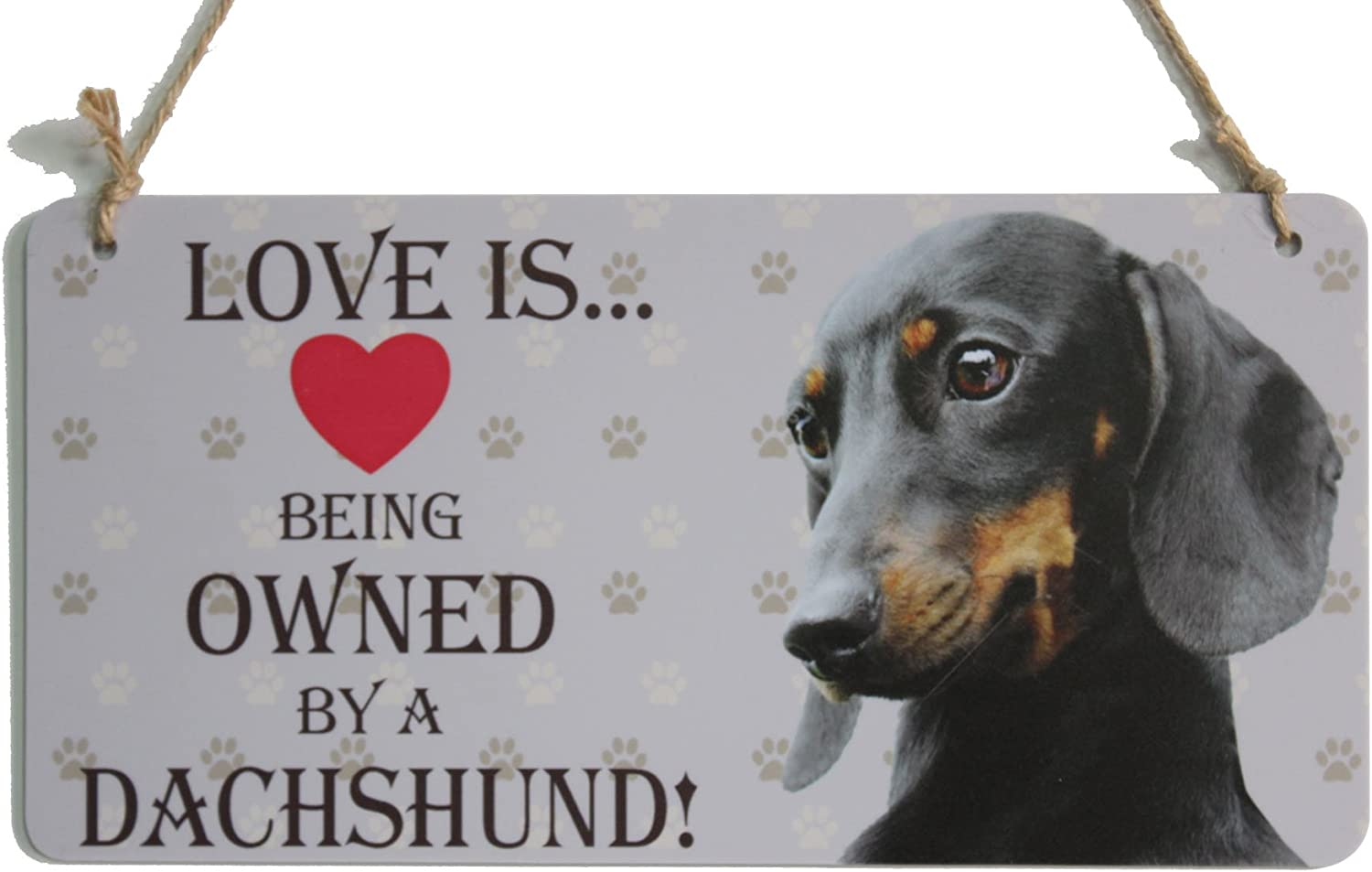 zhongfei Dachshund Gifts Sign Love is Being Owned by A Dachshund Dog Home Decor (5