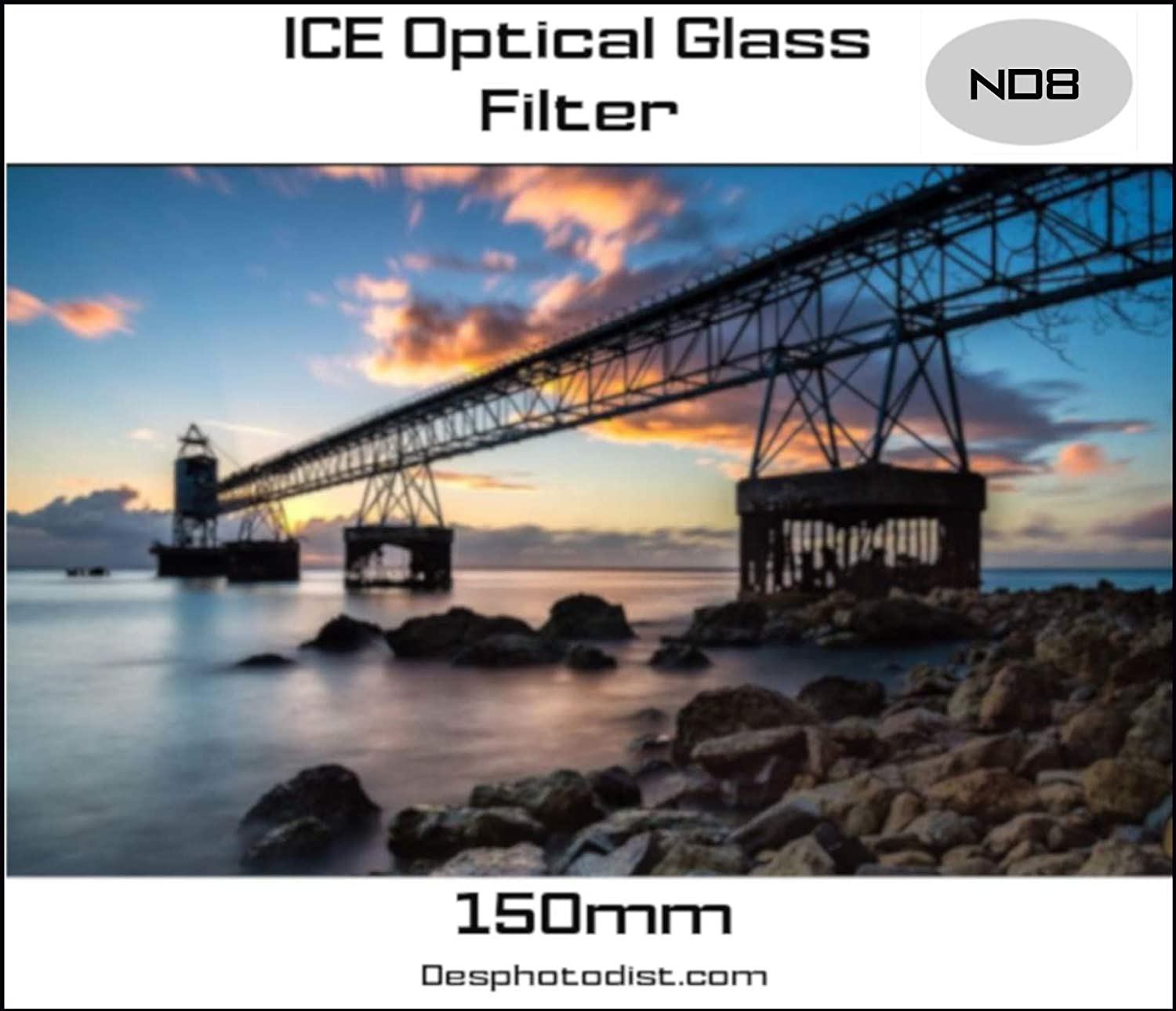 ICE 150mm ND8 Filter Neutral Density 3 Stop Optical Glass Lee SW150 Compatible 150 ND Includes Plastic Hard Shell Case