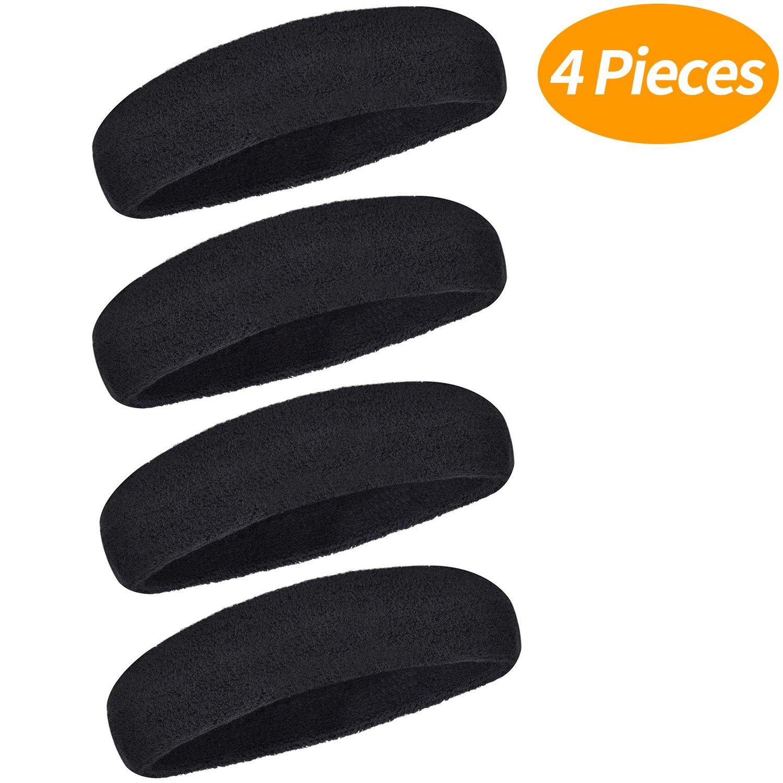 Senkary 4 Packung Sport Stirnband Schweißband Athletische Kopfband Damen Herren Sweatbands Headbands für Fußball, Basketball, Tennis, Badminton und Andere Sportarten